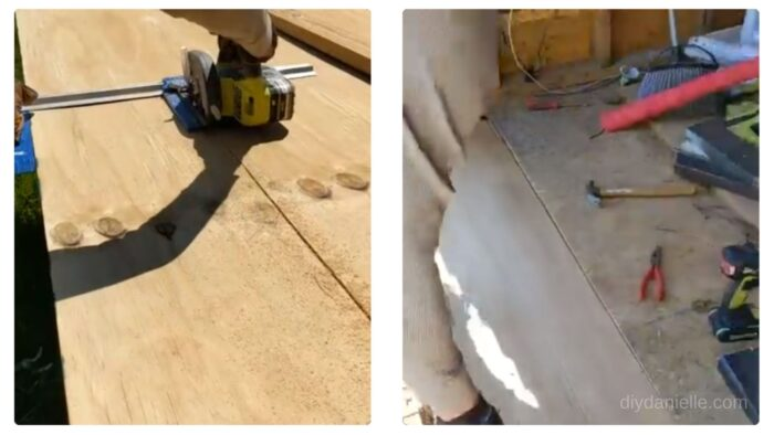 Cutting plywood for the flooring and sliding it into place.