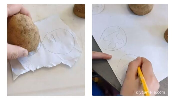 Left: Making a template of the potato end.  Right: Drawing the bubble letters inside the template.