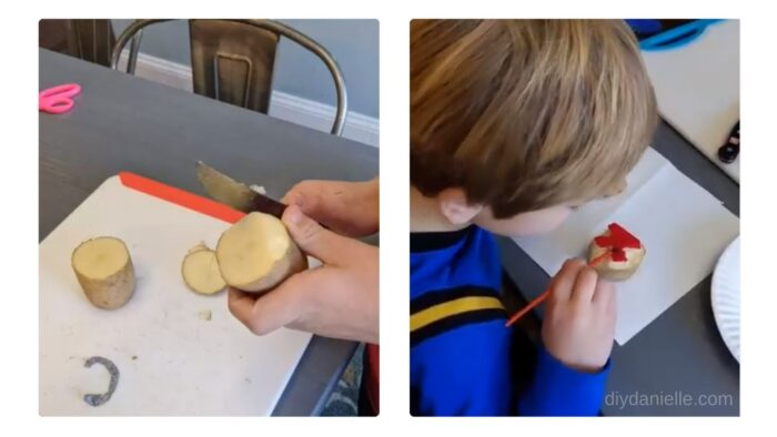Left: Cutting sides off the potato. Right: Painting the letter on the potato with safe paints for kids.
