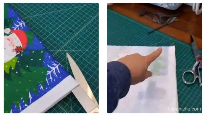 Cutting the Dollar Tree hand towel in half.