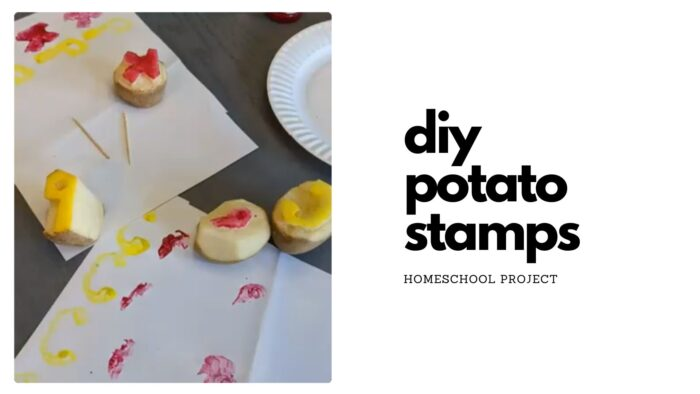 DIY Potato Stamps with yellow and red paint, as well as the paper they were stamped on.