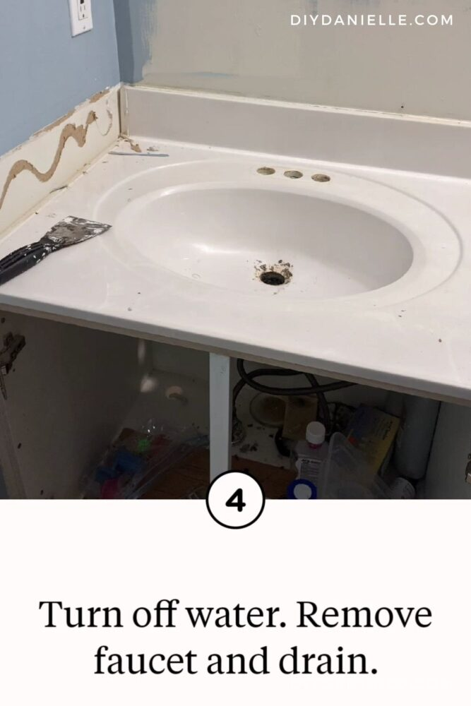 Sink with the faucet and drain removed.