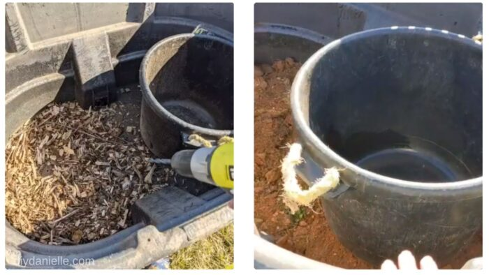 Left: Drilling holes in the bottom of the trough for drainage.  Right: Inserting the muck bucket into the trough. I added some rock under it to lift it up.