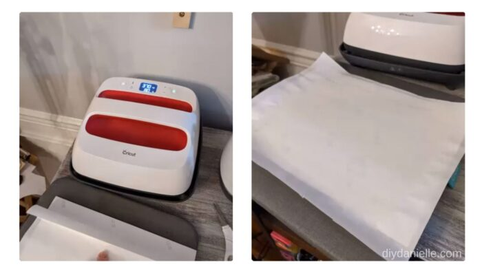 Left: EasyPress 2 preheating.  Right: Design laid face down with butcher paper on top.