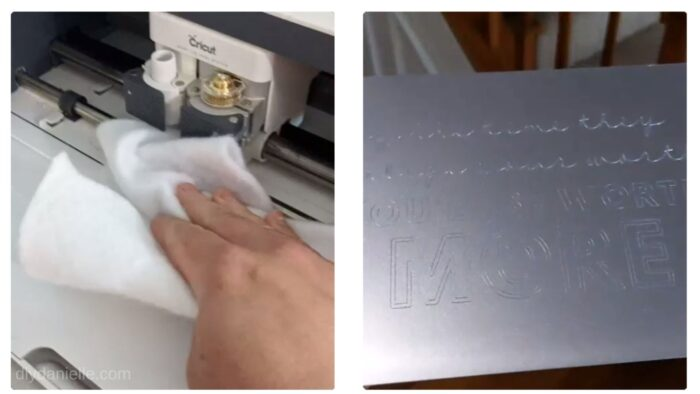 Left: Using a soft cloth to clean the Cricut Maker after engraving  Right: Photo of engraved design.