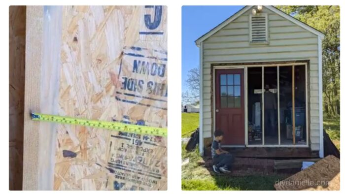 """Left: Photo of how to measure 16"""" on center.  Right: Photo of the finished framing of the garage space."""