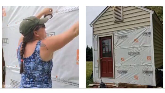 Applying seam tape over the Everbilt house wrap.