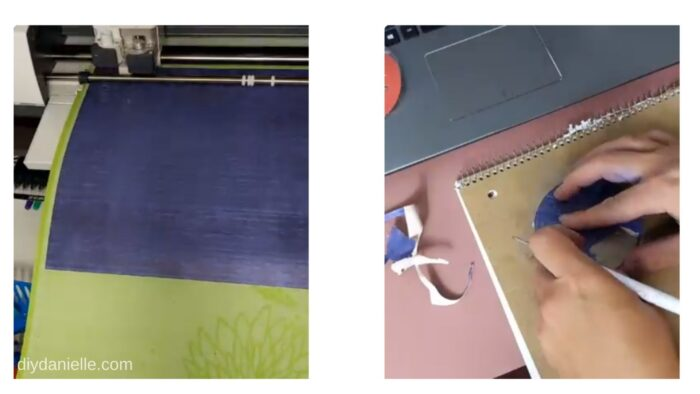 Left: Cutting the Cricut Infusible Ink sheets with the Cricut Maker.  Right: Weeding the design off the sheets.