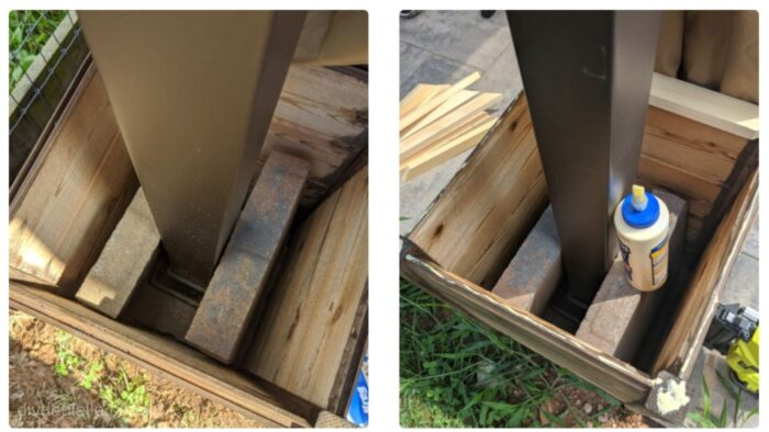 Overhead view of the gazebo planter boxes. In the right picture, I've started adding trim with wood glue.