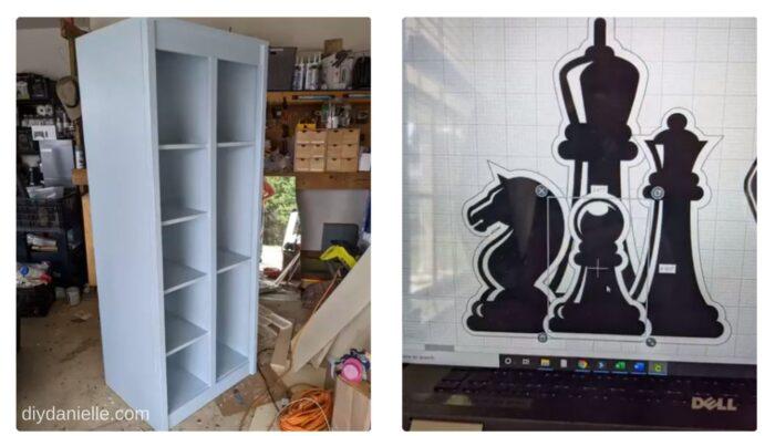 Left: Shelf we built for board games.   Right: Design I am using for layering vinyl on the wood shelf.