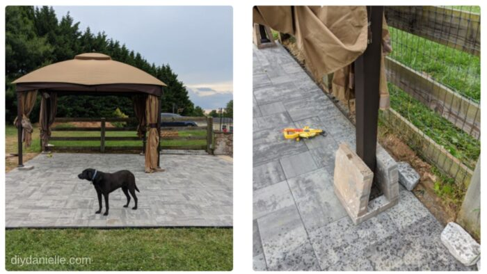 Moving the gazebo onto the pavers (which are on top of the patio). We added two more pavers to each gazebo leg to help weigh it down.
