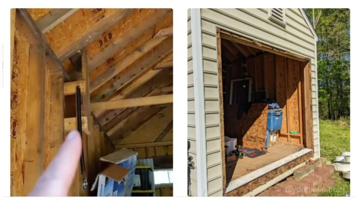 The springs are on the left. Those need to be removed.  Right: Garage door area after the garage door was removed.