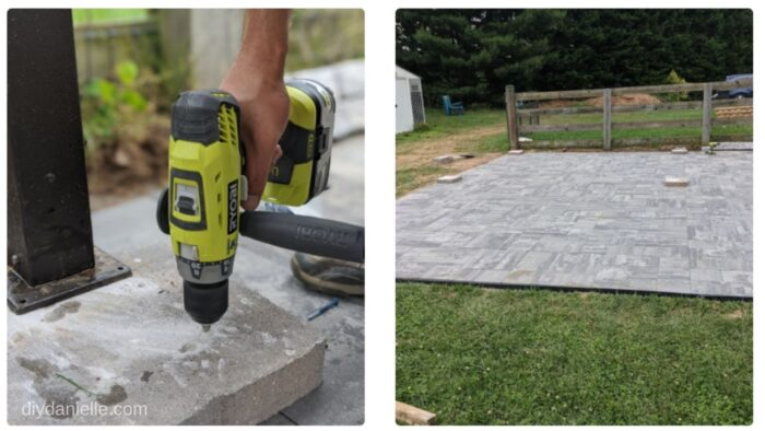 Using 12x12 pavers (cheap ones), we predrilled holes for each gazebo leg. This allowed us to weigh the gazebo down without ruining our patio.