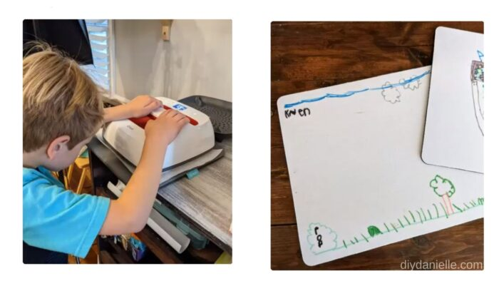 Child helping use the Easy Press 2 to press their artwork onto a blank sublimation mouse pad.