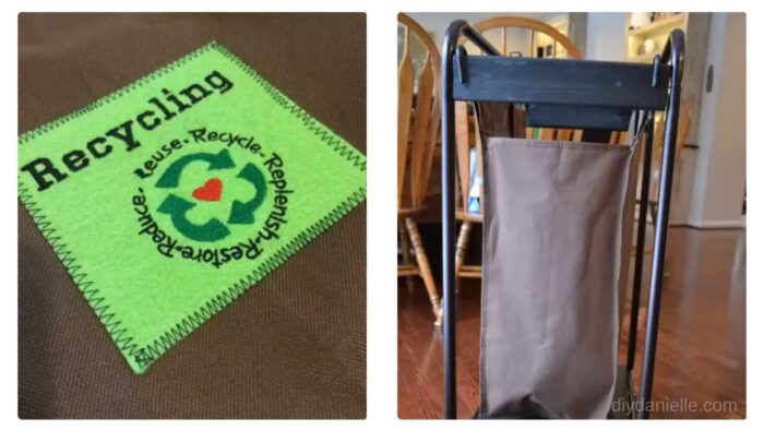 Recycling patch that I embroidered + a photo of the side of the bin.
