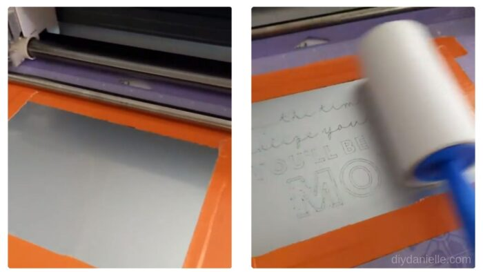 Left: Cricut Aluminum Sheets held onto a StrongGrip Mat with orange duct tape.  Right: Removing metal bits from the engraving process using a lint roller.
