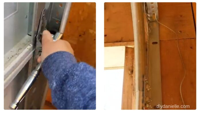 The garage door tracks use hex screws as well. Once all of the door is removed, you can remove the track too.
