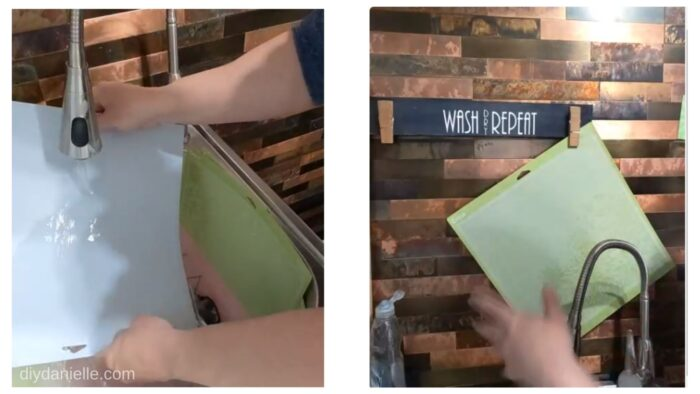Left Photo: Rinsing the soapy mats.  Right Photo: Hang drying the mats above the sink.