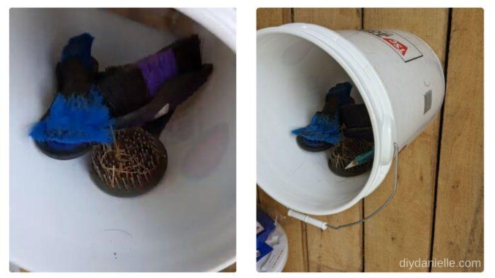 Grooming supplies inside a 5 gallon bucket.