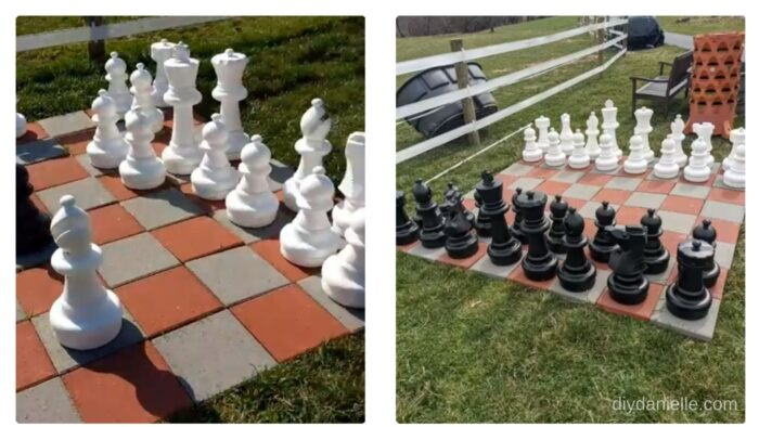 12x12 pavers setup for giant chess on our lawn.