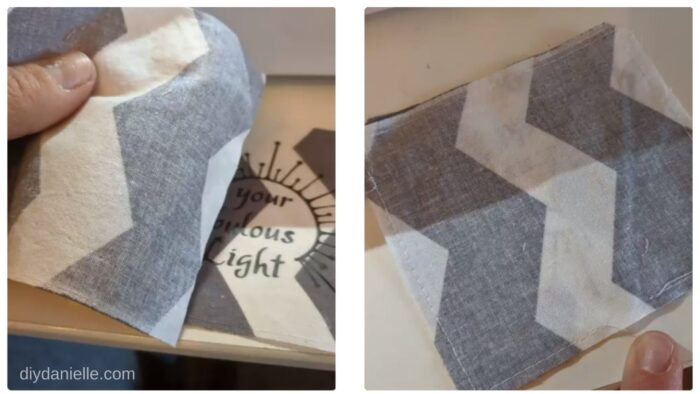 Sewing fabric squares right sides together to make sachets. Leave a small area to turn right sides out.