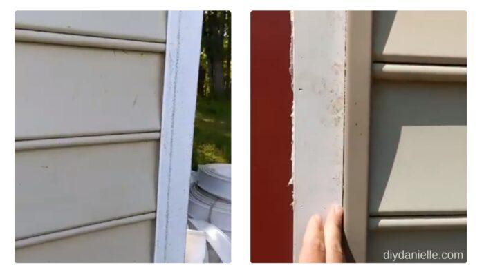 Left Photo: Corner Trim (post installation of the vinyl siding). The corner trim goes on first.   Right Photo: J Trim along the sides of doors/windows. The vinyl siding tucks into it.