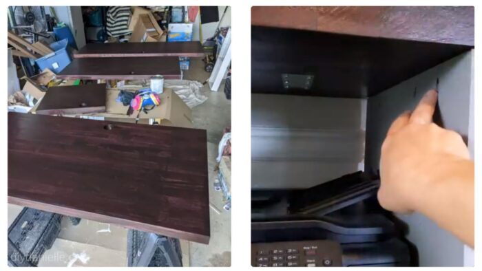 Once the stain dried, I applied several coats of polyurethane. After those coats dried, I attached the countertop to the printer stand.