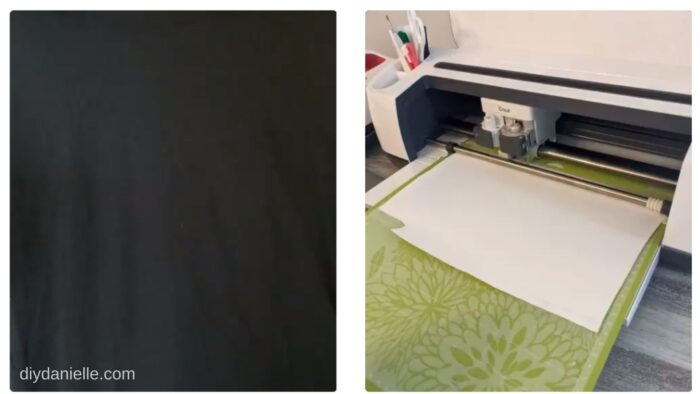 Cutting HTV with shiny side down on a Cricut mat.