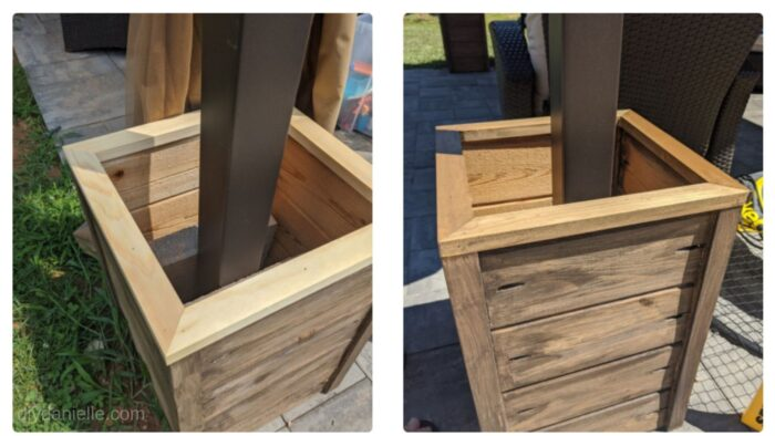 Four trim pieces were added to the top of each box, and I used an outdoor stain to finish them.