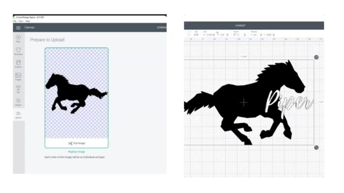 Uploading your SVG to Design space.