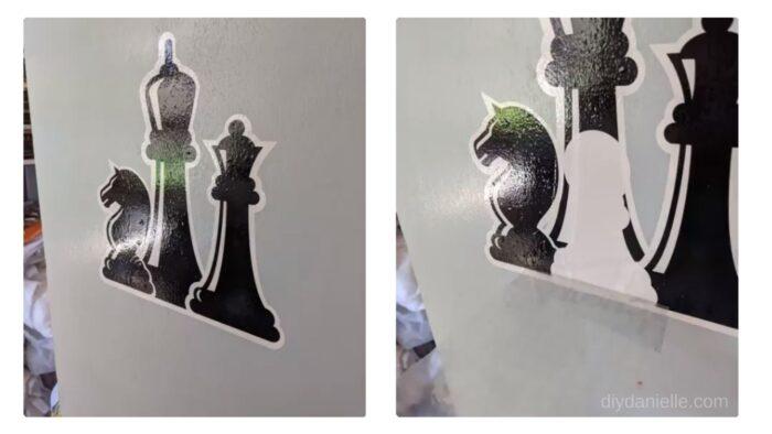 Layering permanent vinyl on wood: chess design.