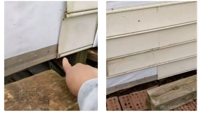 Left: This is the vinyl starter strip. It goes on the bottom of the wall and the first piece of vinyl siding snaps onto it. You'll install that part first. Right photo: It looks weird but we didn't add siding to this section because we'll have a small deck/platform off this area for the steps.