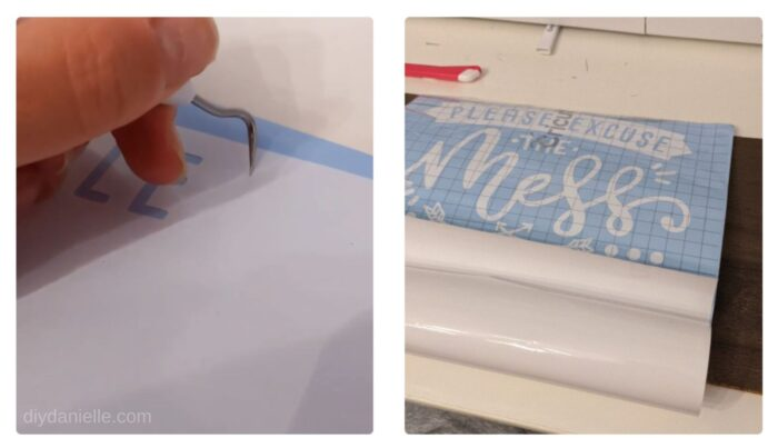 After the Cricut cuts the design out of the permanent vinyl, I weed away the excess vinyl, then apply transfer paper to the top.