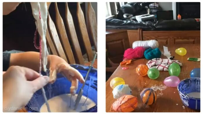 Scraping the excess paper mache off the yarn, then wrapping partially inflated balloons with the yarn.