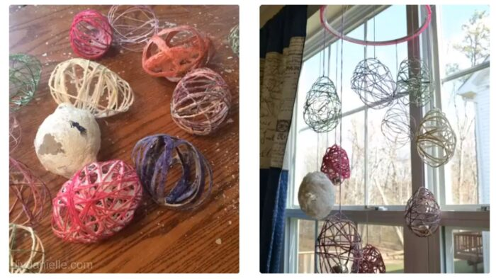 Left: Letting the paper mache yarn eggs dry. Right: Faux Easter Eggs hanging from an embroidery hoop.