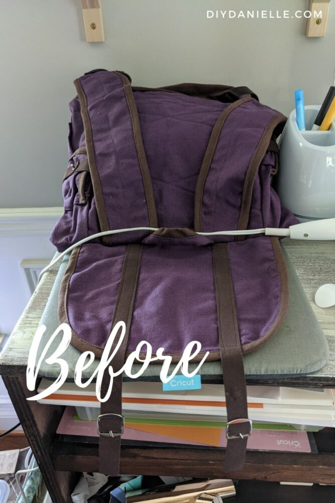 Purple backpack BEFORE photos: I plan to add a Dora backpack face to the front of it.