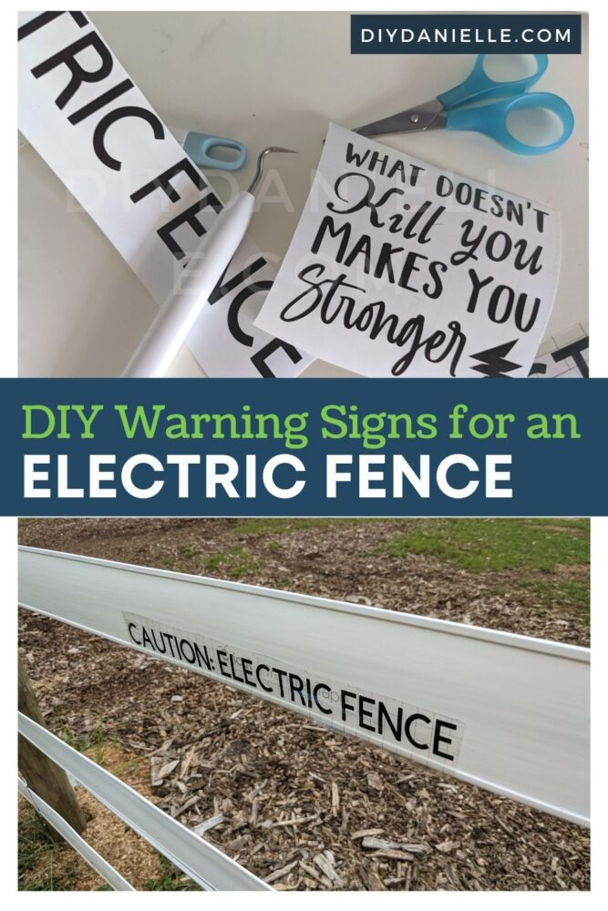 DIY Warning signs for an electric fence.