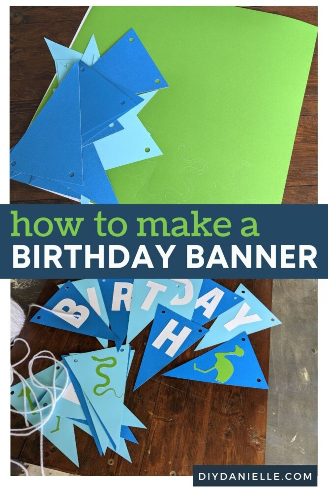 How to make a birthday banner: Top photo of triangles and Smart Sticker Cardstock, ready to be assembled. Bottom photo: Happy birthday on triangular banner pieces, as well as a few animal silhouettes.